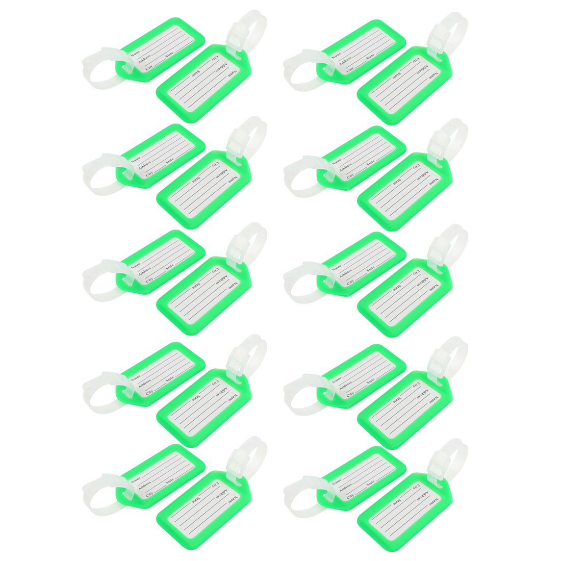 Green White Rectangle Design Plastic Suitcase Name Label Luggage Tag 20 Pcs - image 1 of 1