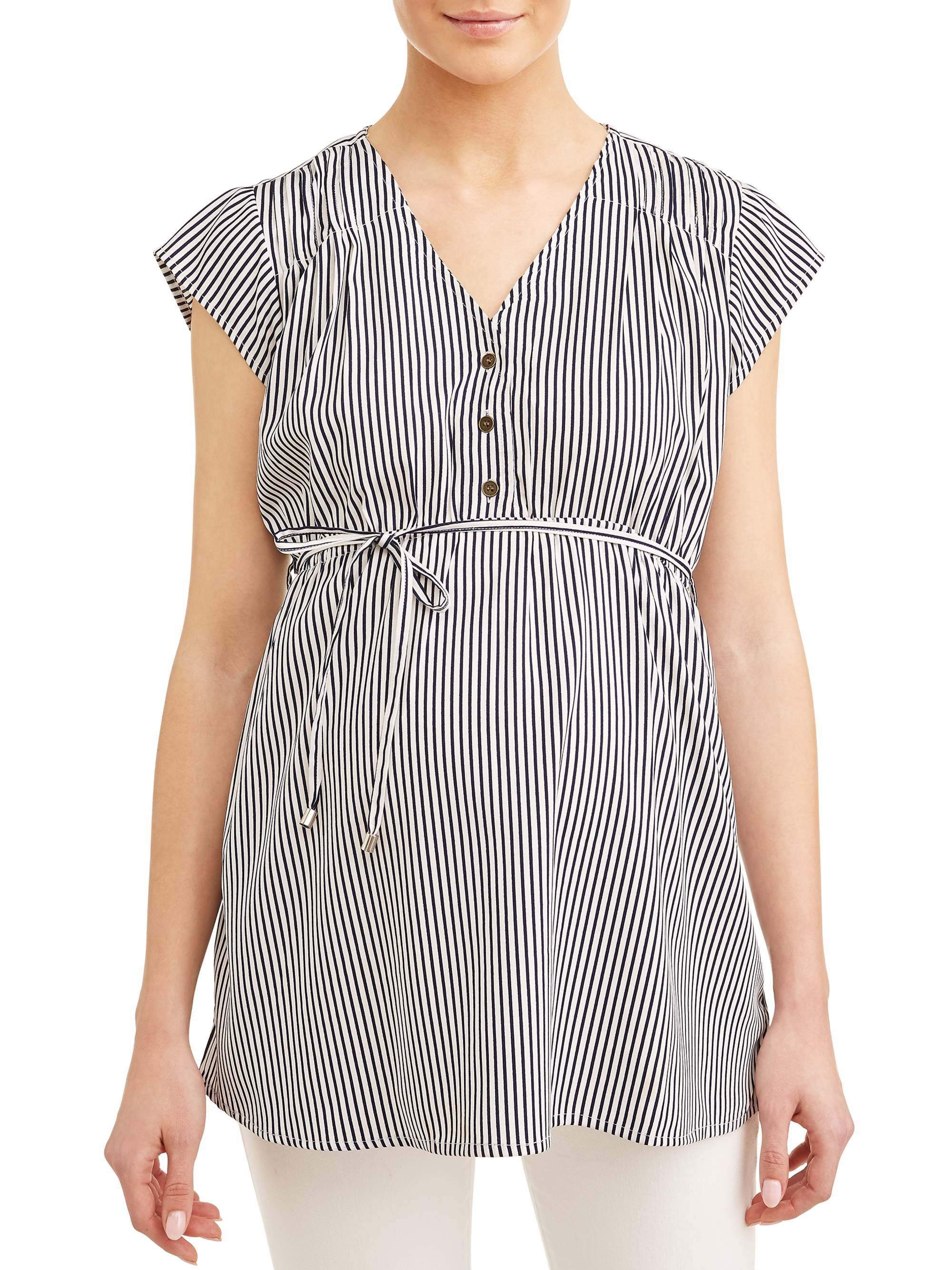 Maternity Stripe Button Front Top - Available in Plus Sizes