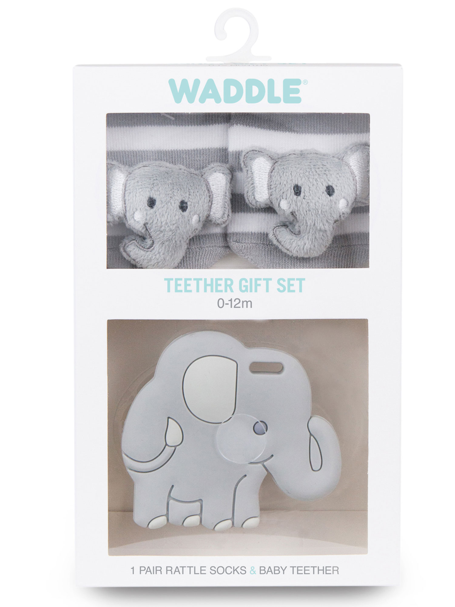 7ba43ec2e6c9f WADDLE Unisex Grey Elephant Rattle Socks and Silli Chews Baby Teether  Silicone Teething Toy Infant Pain Relief Soother Newborn Gift Set
