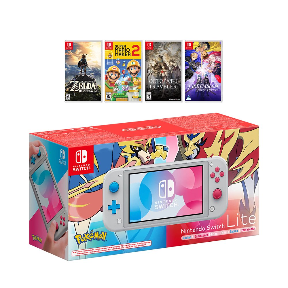 New Nintendo Switch Lite Zacian and Zamazenta Limited Edition Bundle with 4 Games: The Legend of Zelda: Breath of the Wild, Super Mario Maker 2, Octopath Traveler, and Fire Emblem: Three Houses!