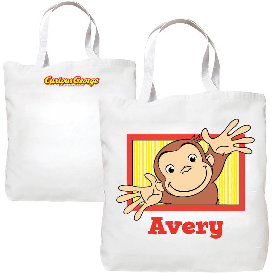 Personalized Curious George Pick Me Up Polka Dots Tote Bag