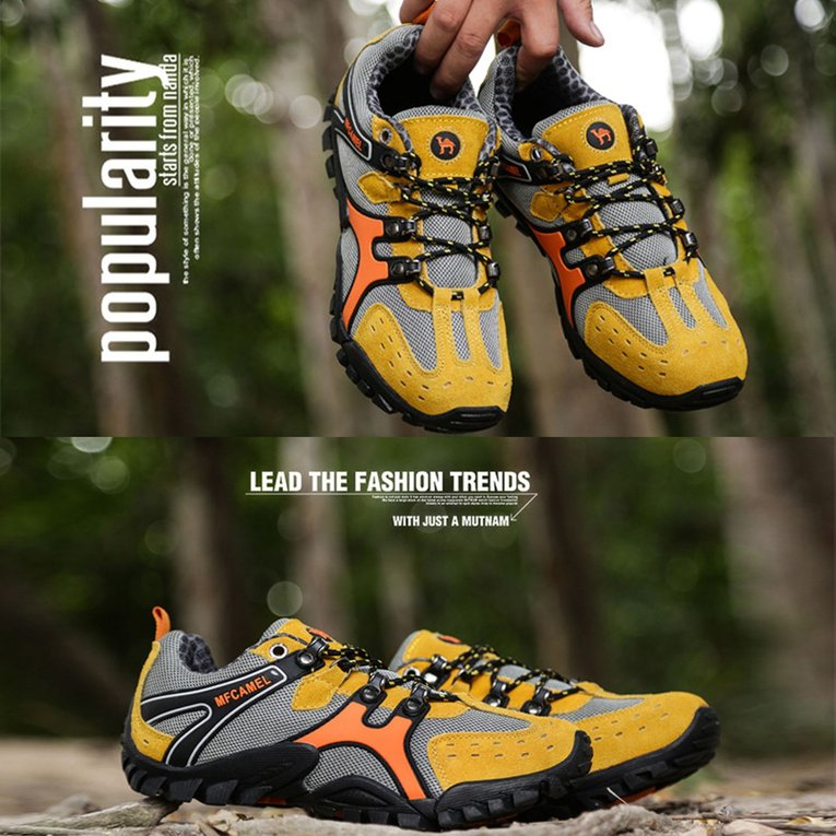Yellow Sport Shoes Outdoor Mountaineering Shoes Sport Men'S Lace-Up Hiking Boots For Climbing