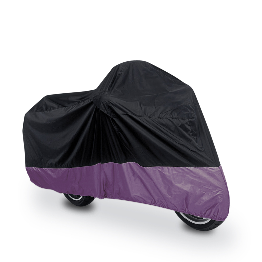 XL 180T Rain Dust Motorcycle Scooter Cover Black+Purple Waterproof UV Protector
