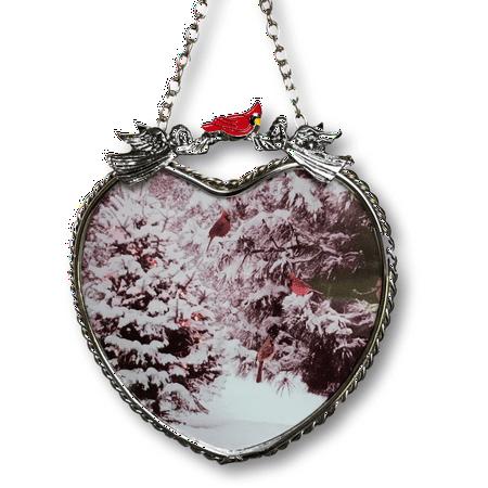 Winter Scene Suncatcher - Glass Heart Sun Catcher with Cardinals and Christmas Trees - Hanging Heart Window