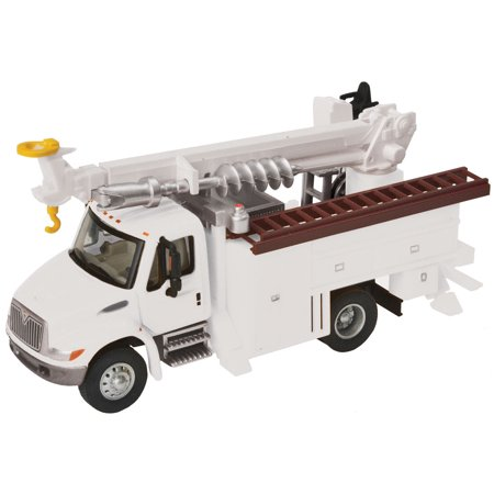 Walthers HO Scale International 4300 Utility Truck w/ Drill White Railroad (International Navistar Trucks)