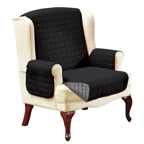 Elegant Comfort Quilted Reversible Furniture Protector Wing Chair, Chocolate/Cream