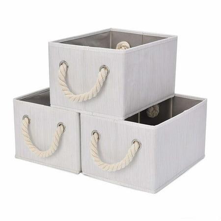 StorageWorks Foldable Storage Basket, 3-Pack, Large, White, Bamboo Style, Cotton Rope - Bali Style Basket