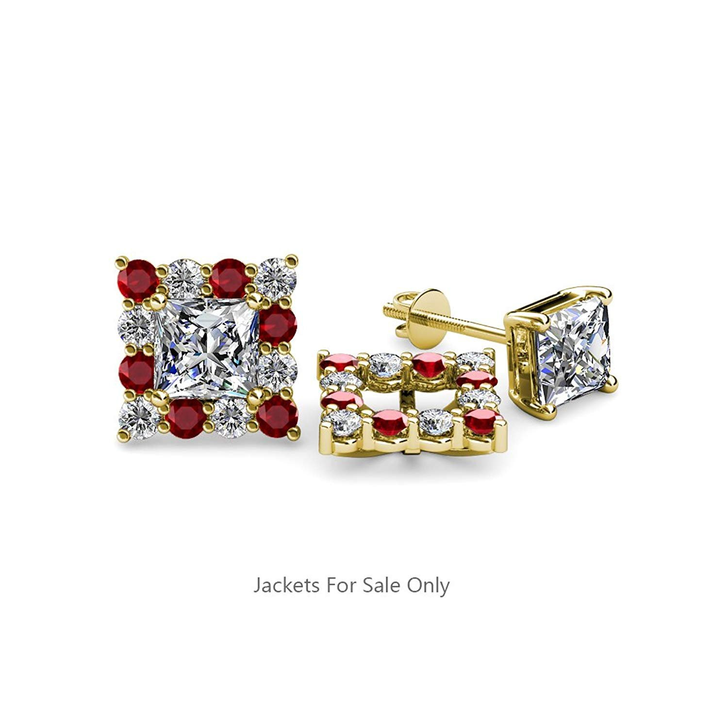 Vintage 18 Karat Yellow Gold Over 0.60ct Ruby and Diamond Earrings Jackets Only