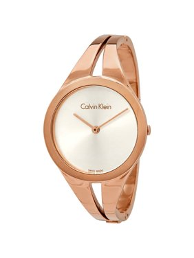 78230f187 Product Image Calvin Klein Addict Silver Dial Ladies Small Rose Gold-tone  Bangle Watch K7W2S616