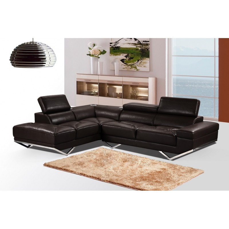 US Pride Furniture Iliana Brown Leather Sectional Sofa With Right Facing  Chaise, S0060R