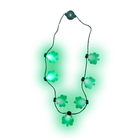 Light up St. Patricks Day Shamrock Necklace Flashing Green Bulb LED Glow Clover - Light Up Necklace