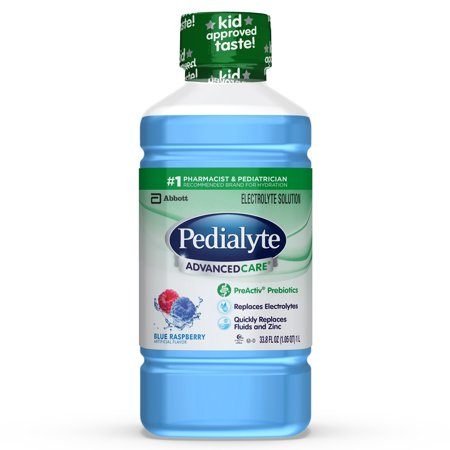 Pedialyte AdvancedCare Electrolyte Solution with PreActiv Prebiotics, Hydration Drink, Blue Raspberry, 1 Liter, 8 Count ()