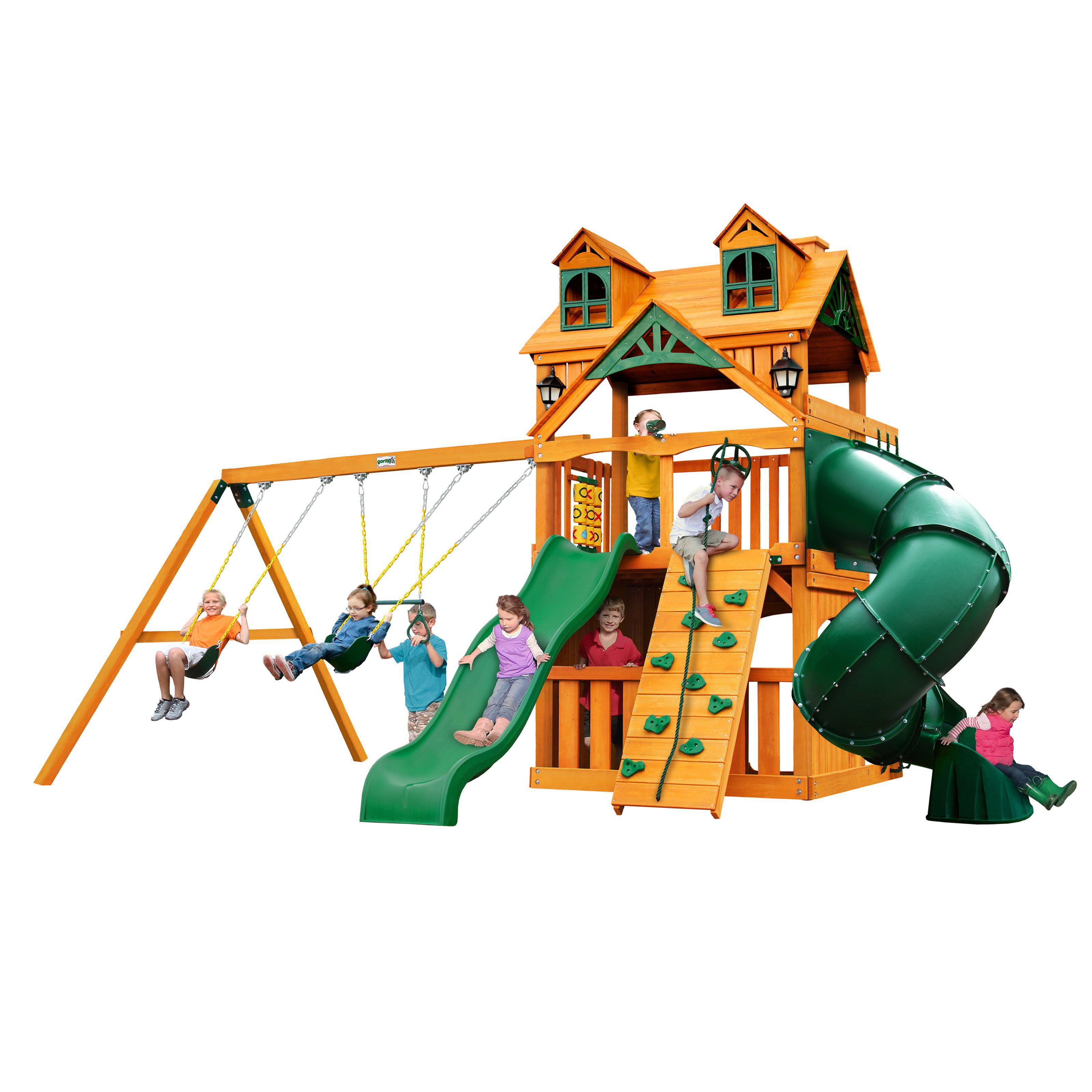 Gorilla Playsets Malibu Extreme Clubhouse Swing Set w  Amber Posts by Gorilla Playsets