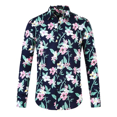 Men Hawaiian  Floral Shirts Button Down Aloha Long Sleeve Tropical Flower Printed (Mens Floral Print)
