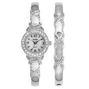 Women's XO Watch And Bracelet Bangle Set, Silvertone