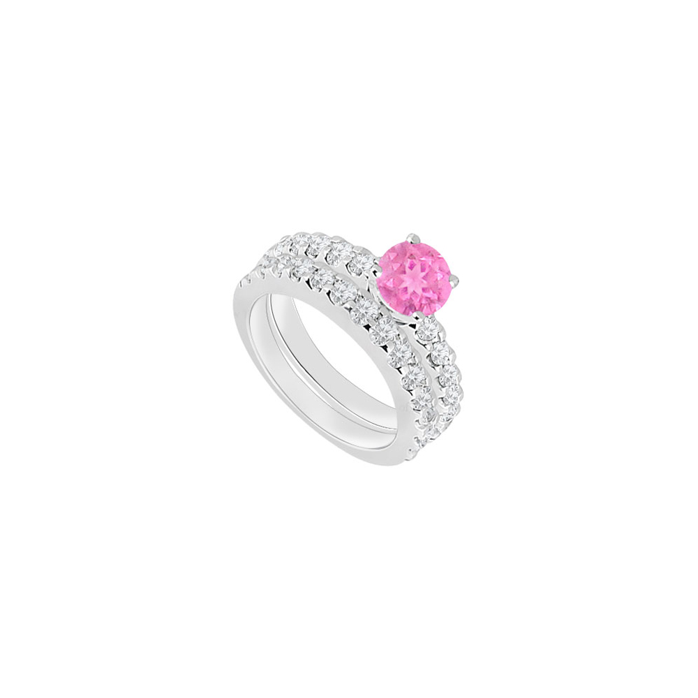 14K White Gold Created Pink Sapphire and Cubic Zirconia Engagement Ring with Wedding Band Set 1. - image 2 de 2