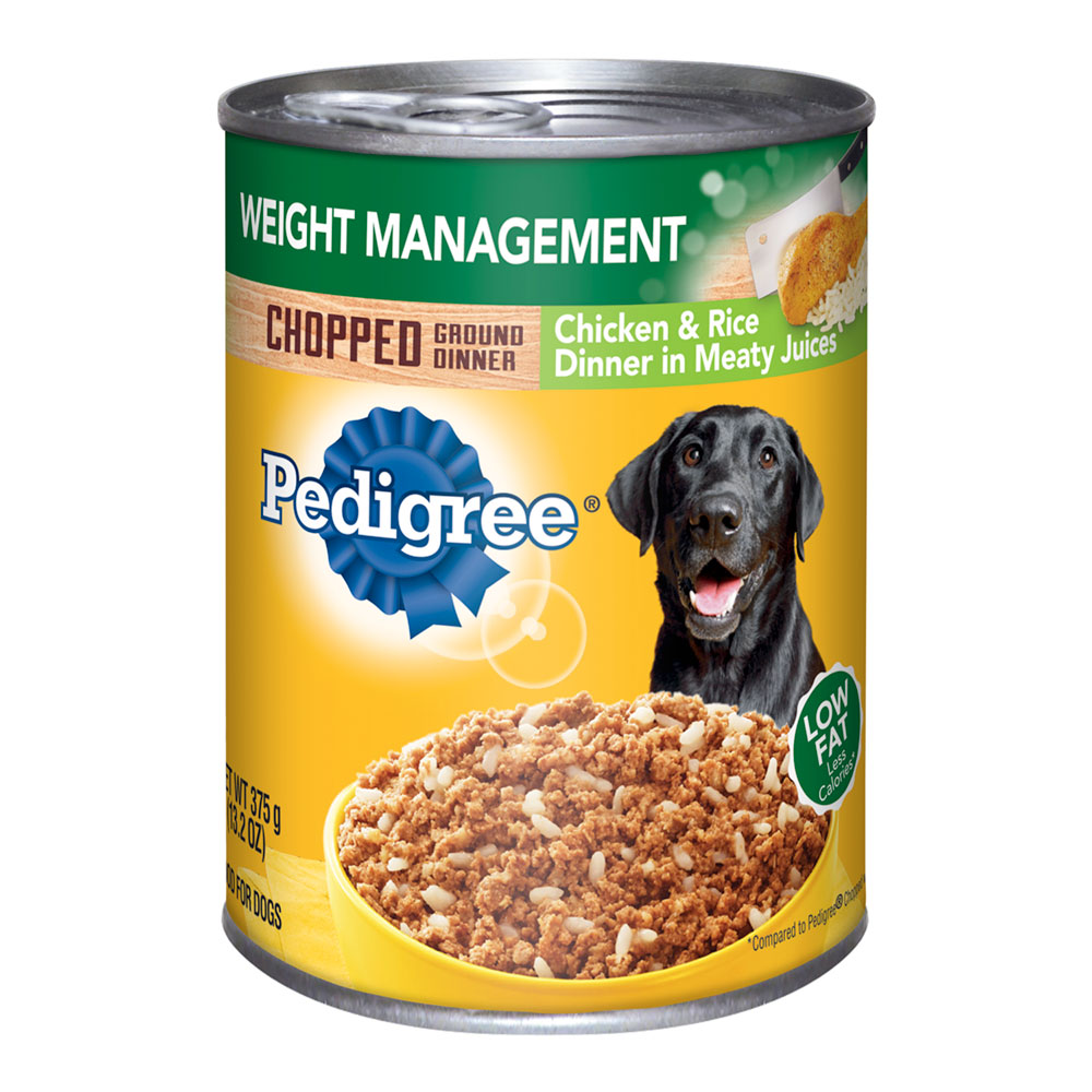 Pedigree Chopped Ground Dinner Weight Management Chicken & Rice Canned Dog Food, 13.2 Oz, Pack of 12