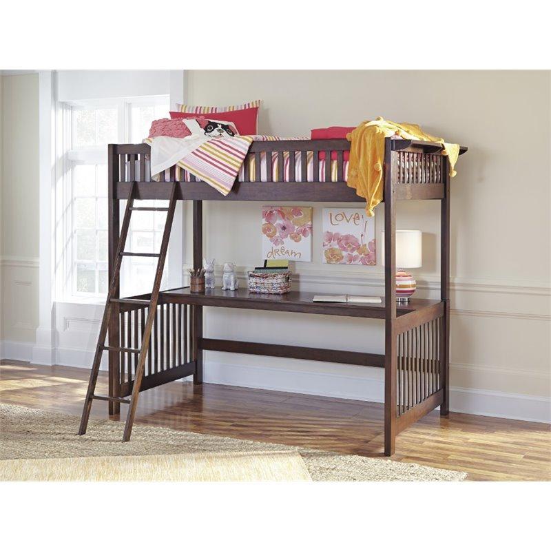 Ashley Strenton Loft Bed With Desk In Brown Walmart Com