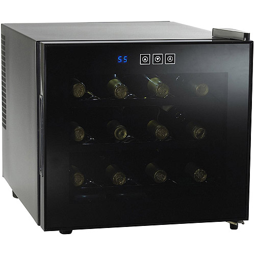Wood Front Shelv Wine Enthusiast Silent 12 Bottle Touchscreen Wine Refrigerator