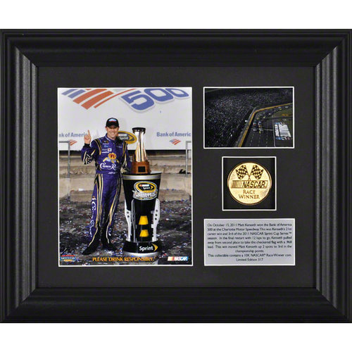 Matt Kenseth Framed Photograph | Details: 2011 Bank of America 500 Charlotte Motor Speedway Winner, Gold Coin Plate - Limited Edition of 317
