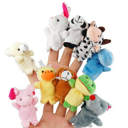 10pcs Cartoon Animal Finger Puppets Soft Velvet Dolls Props Toys (Random - Giraffe Puppet