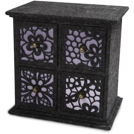 Floral Cut Out Felt Jewelry Box with Drawers- Gray with Purple Backdrop