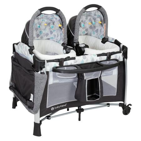 Baby Trend Nursery - Baby Trend Go-Lite™ Twins Nursery Center Playard, Drip Drop Blue