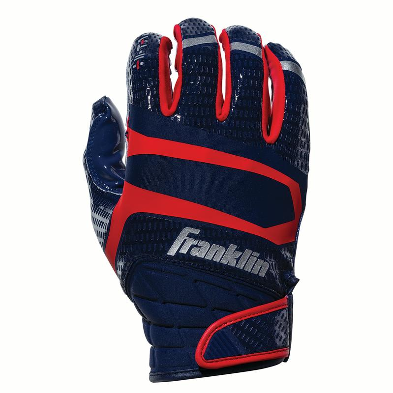 Franklin Sports Hi-Tack Premium Football Receiver Gloves - Navy/Red - Youth Medium