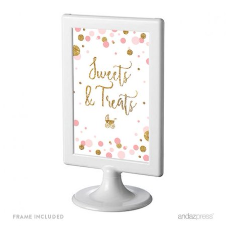 Sweets & Treats , Blush Pink Gold Glitter Baby Shower Framed Party Signs - Small Pink Sweets