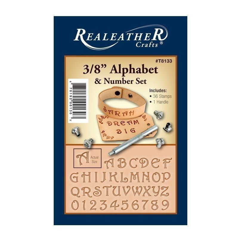 Realeather 3 8 Alphabet And Number Set Leather Stamp Kit