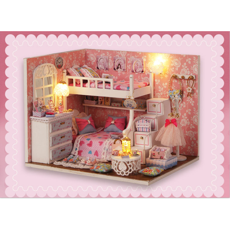 DIY Wooden Dollhouse Miniature Furniture Light 3D Model Doll House Room Pricess Girls Gift - image 1 of 6