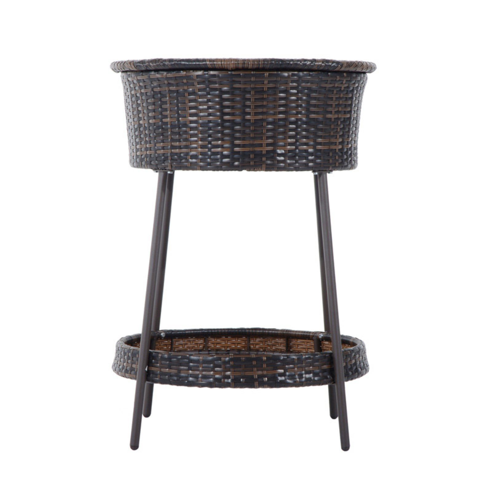 Outsunny Rattan Wicker Outdoor Ice Bucket with Lid and Tray