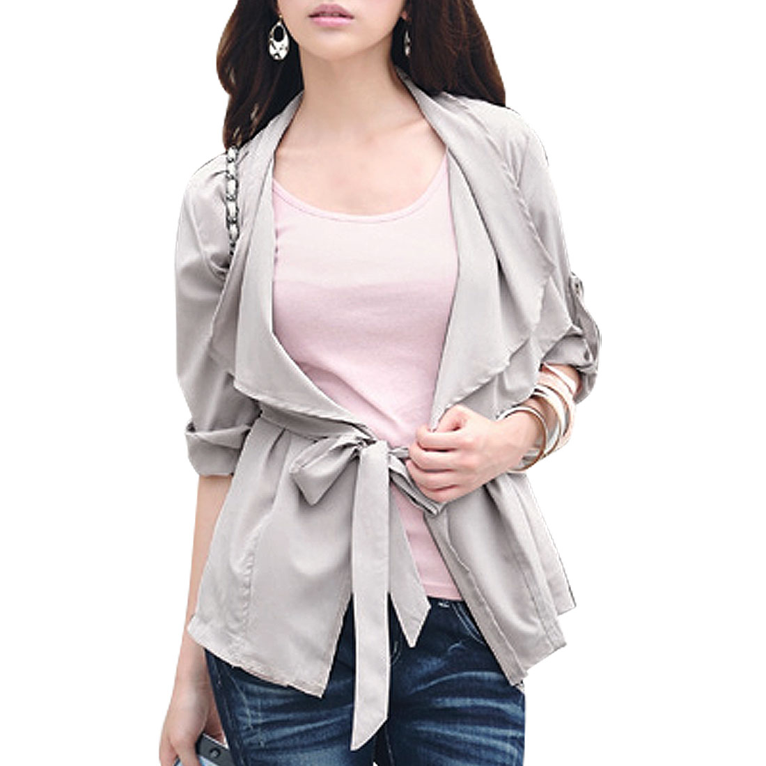 Gray S 3/4 Sleeve Draped Front Banded Fall Jacket Coat for Ladies