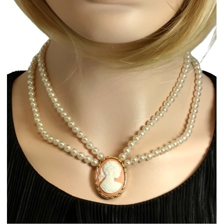 Double Strand Faux Pearl (Double Strand Faux Pearl Cameo 925 Gold Vermeil Collar Necklace)