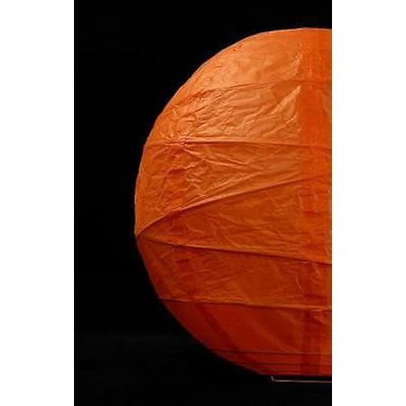 12  Orange Paper Lanterns   Bamboo Ribbing  2Pk