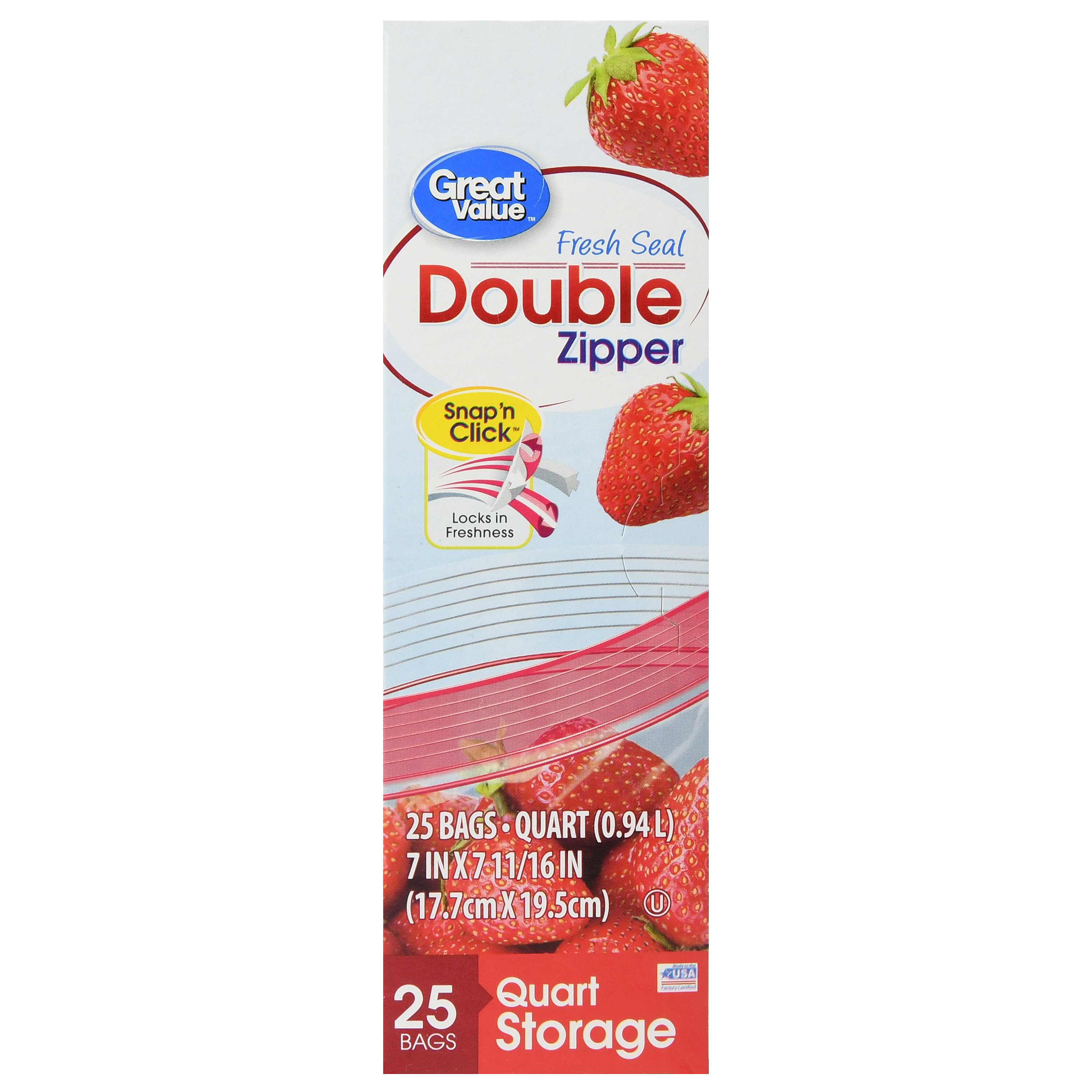 Great Value Double Zipper Bags, Quart, 25 Count