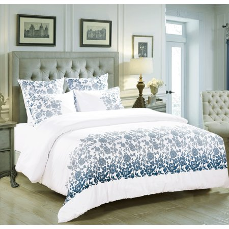 Melange Home Broderie ensemble housse de couette Collection Climbing Rose Emb Duvet Set Blue