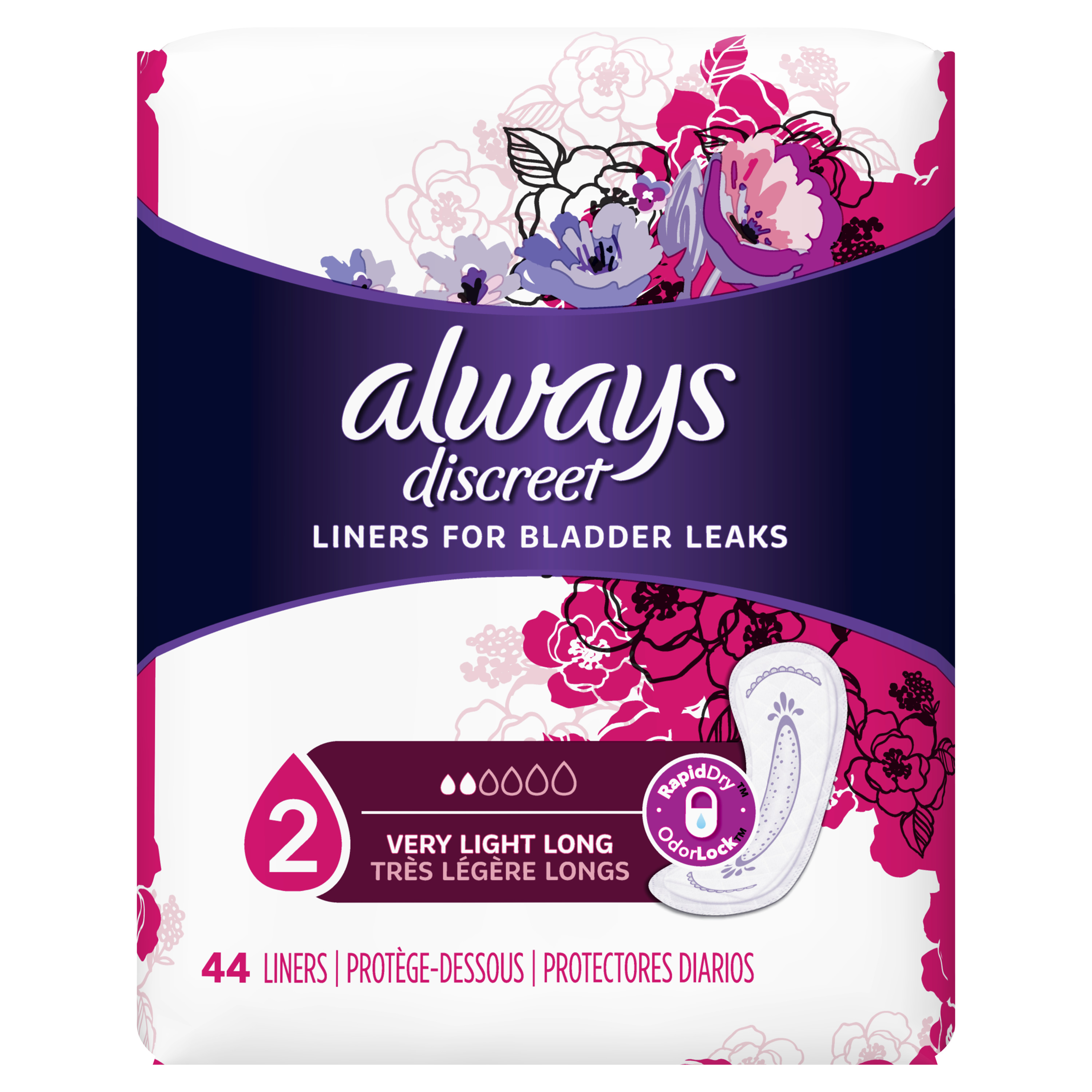 Always Discreet Incontinence Liners, Very Light Absorbency, Long Length, 44 Count