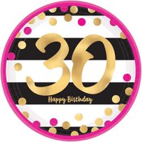 Over the Hill 'Hot Pink and Gold' 30th Birthday Large Paper Plates (8ct)