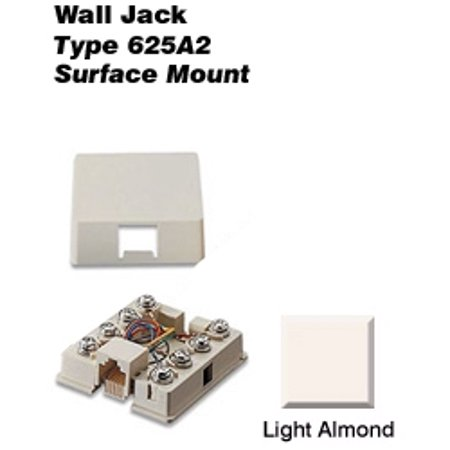 Leviton 40278-SBT 8P8C Surface Mount Jack w/ Shorting Bar - Light Almond