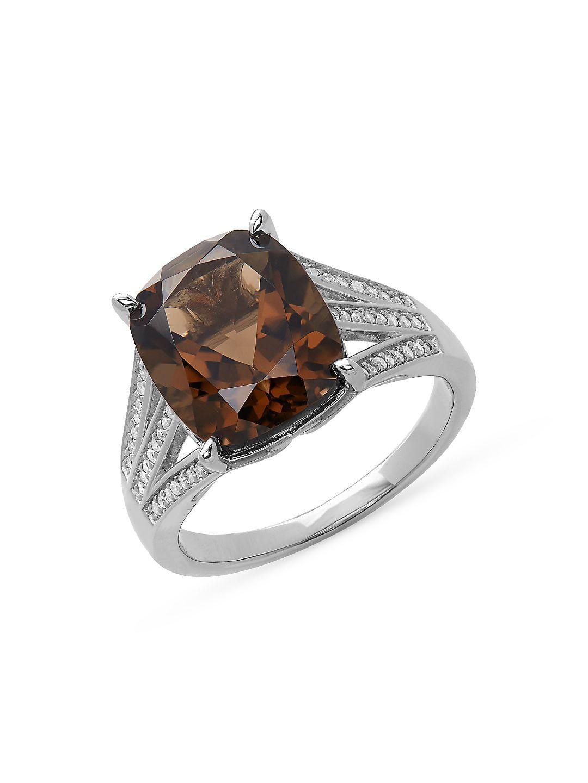 Sterling Silver, Smoky Quartz & Diamond Ring