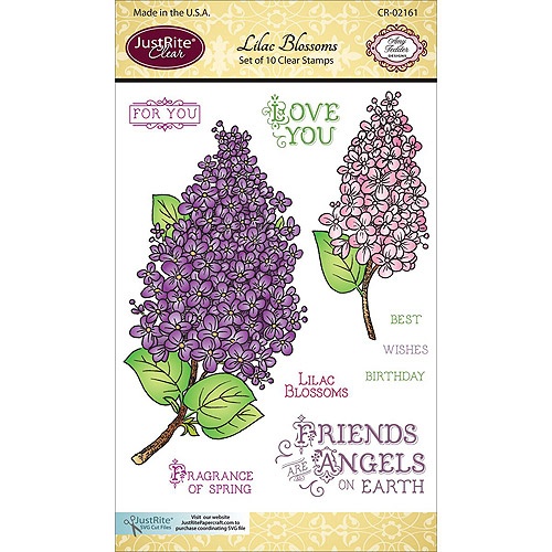 """JustRite Papercraft Clear Stamp Set, 4"""" x 6"""", Lilac Blossoms"""