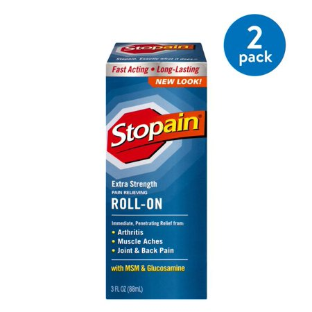 (2 Pack) Stopain Extra Strength Pain Relieving Roll-On with MSM & Glucosamine, 3.0 FL