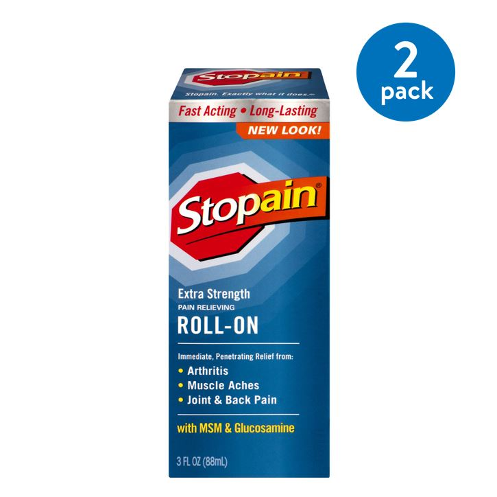 (2 Pack) Stopain Extra Strength Pain Relieving Roll-On with MSM & Glucosamine, 3.0 FL OZ