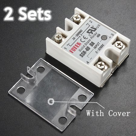 2Pcs 40A Solid State Relay Module SSR-40DA 3-32VDC Input 24-380VAC Ouput Fast Switching + Cover