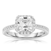 Collette Z  Sterling Silver Ascher-cut Cubic Zirconia Ring 6