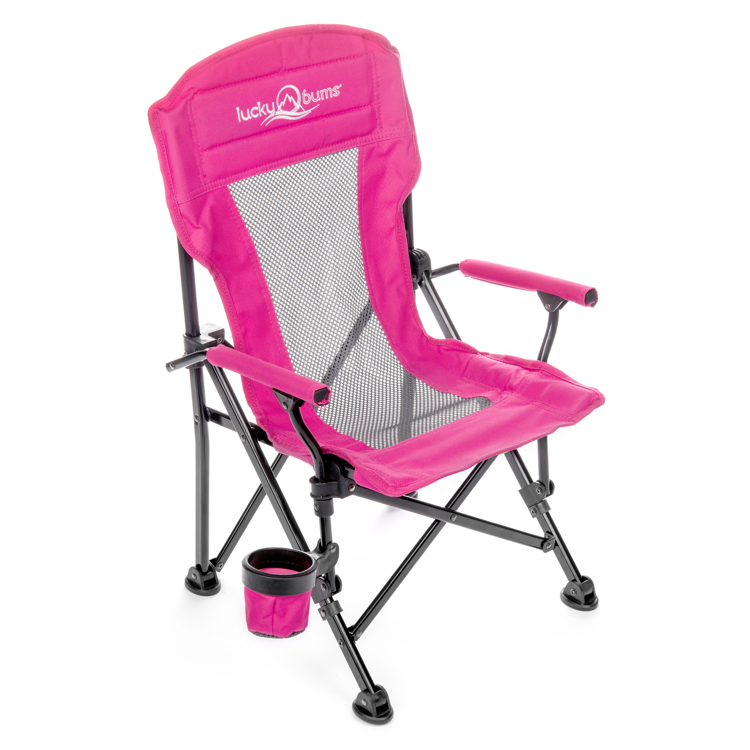 lucky bums youth folding arm chair with cup holder, navy, medium