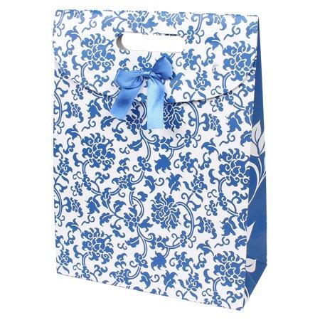Unique Bargains Fastener Closure Blue Floral Vines Pattern Foldable White Paper Gift Bag - Floral Gift Bags