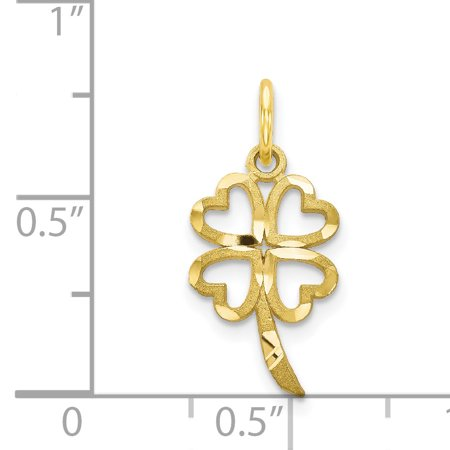 10k Yellow Gold 4 Leaf Clover Pendant Charm Necklace Good Luck Italian Horn Fine Jewelry For Women Valentines Day Gifts For Her - image 1 of 7