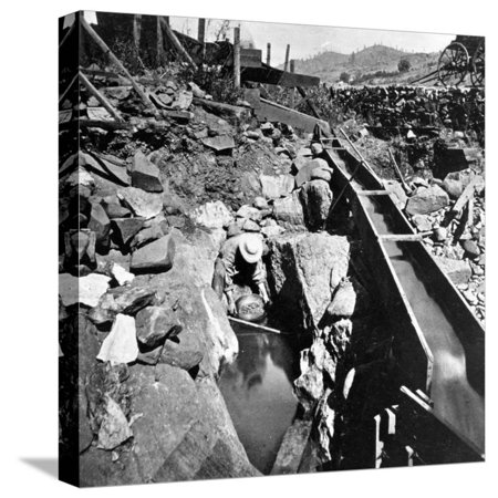 Placer Mining, Panning Out, from 'Gems of California Scenery' Published by Lawrence and… Stretched Canvas Print Wall Art